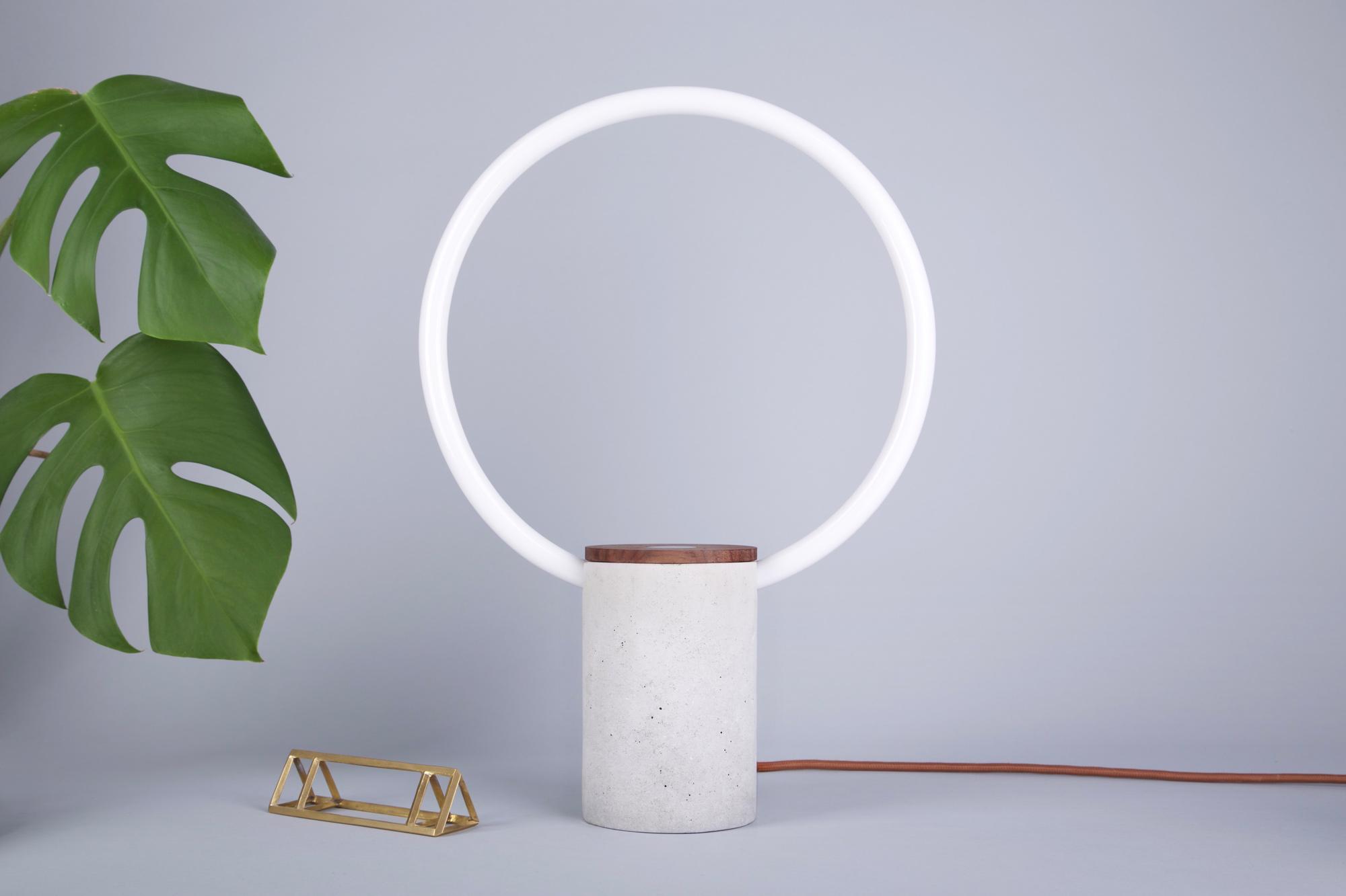 Circle lamp minimal beautiful concrete round chestnut wood bronze light tube cupper textile cable beautiful best award plant palm tree filip trinder designer design